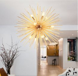 Wholesale Living Sphere - Modern LED Spark Pendant Lamp Golden Hanging Lamp Lamp Fixture Living Room Restaurant Study led radiation sphere art Personality