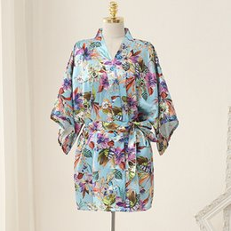 Wholesale Silk Print Robe - Wedding Pajamas Japanese Silk Robe Kimono Bridesmaid Robes Print Flowers 2016 Nightdress Sleepwear Broken Flower Floral Underwear Opp Bag