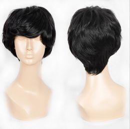 Wholesale Synthetic Hair Bangs - Men Short Straight Black Natural Wigs HighTempreture Resistant Synthetic Hair Inclined Bang Short Cosplay Wigs of Black