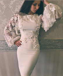 Argentina 2017 vestidos de baile de la envoltura con joya escote ilusión larga mangas hinchadas longitud de la rodilla 3D apliques perlas flores hechos a mano vestidos de cóctel Suministro