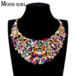 Wholesale Wedding Jewelry Displays - 2 color Flower Trendy Maxi choker necklace classic New sping fashion jewelry display Big statement necklace for women accessories
