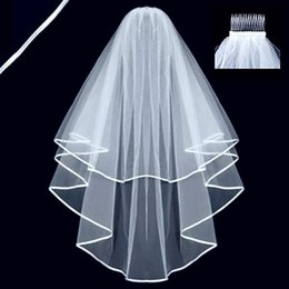 Wholesale Tulle Layers Wedding Dress - Two Layers Tulle Short Bridal Veils 2016 Hot Sale Cheap Wedding Bridal Accessory For wedding Dresses Cheap Wedding Net In Stock