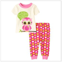 Wholesale Girls Owl Short Sleeve - Owl Pink Girls Clothes Sets Short Sleeve Tee Shirts Tops Heart Trousers Children's Pajamas Summer Baby Girl's Dress