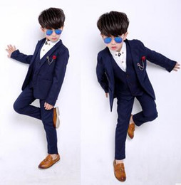 Wholesale Wedding Dress Boy Suits - Children's Suit Sets Fashion Kids Wedding Full dress Boys 3pcs Suits European Style Fashion Shirt+Vest +pants Suits Kids Party Formal Suit