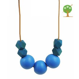 Wholesale Love Wooden Beads - I love turquoise simple bead necklace, hand painted geometric wooden beads chunky modern necklace minimalist boho NW1832
