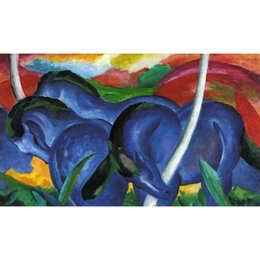 Wholesale Marc Painting - Canvas art The Large Blue Horse Franz Marc Paintings oil reproduction High quality Hand Painted