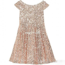 Wholesale Pink Lin - .2016 Girls Pageant Dresses Bling Rose Gold Sequin Bateau Capped Sleeveless Zipper Tea Length Ruched Cheap Wedding Flower Girl Dresses A Lin