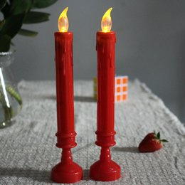 Wholesale decoration church - LED Candle Long Pole Simulated Drip Oil Electronic Candles Night Light Church Praying Party Decor Home Craft 2hj F R
