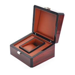 Wholesale Burgundy Gift Box - Burgundy Luxury Watch Boxes Brand Men Watch Packaging Boxes Wood Gift Box with PU Leather Inner Material