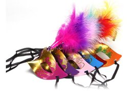 Wholesale Masquerade Feathers - Wholesale 6 Colours Fashion Women Sexy Mask Hallowmas Venetian Eye Mask Masquerade Masks With Flower Feather Easter Mask Dance Party Mask