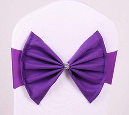 Wholesale Lycra Chair Sashes - Spandex Lycra Chair Sashes Elastic Satin Chair Bands with Buckle for Wedding Chair Cover Sashes Bows WT065