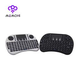 Wholesale Russian Rii Mini I8 - MEMOBOX RII I8 Mini Keyboard Russian English Air Mouse MultiMedia Remote Control Touchpad Handheld for Android TV BOX Notebook Mini PC