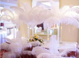 Wholesale Wedding Cake Sky Blue - Wholesale 100 pcs per lot Black White Ostrich Feather Plume for Wedding center pieces party table decorations supplies free shipping