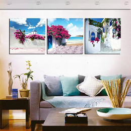 Wholesale Islamic Calligraphy Paintings - unframed 3 Pieces picture free shipping Canvas Prints Sunflower potted flower rose tulips insect Islamic architecture Santorini Dandelion