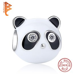 Wholesale animal bracelet bangle - BELAWANG 925 Sterling Silver Panda Charms Enamel Animal Charm Beads Fashion Women Jewelry fit Pandora Charm Bracelets&Bangles DIY Making