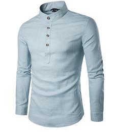Pullover Men Dress Shirts Henry Pescoço Cor Sólida Único Breasted Homens Camisa de Manga Longa Casuais Navio Livre Gola Europeu Tamanho