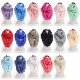 al por mayor bufandas snood Rebajas Forme a luz suave la bufanda Chal Mix Unisex Circle Loop chal bufanda llana Snood largo Color sólido cuello Círculo infinito bufandas al por mayor
