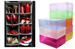 Wholesale Transparent Foldable Shoe Box - Hot Sell CLEAR DIY plastic FOLDABLE storage box for SHOES (Random Send Colors) Transparent plastic box fast shipping