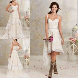 Wholesale Two Piece Detachable Wedding Dresses - Sexy Two Pieces A Line Wedding Dress Spaghetti Lace A Line Bridal Gowns With High Low Short Detachable Skirt Country Boho Bridal Gowns