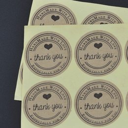 Wholesale Sticker Kraft - Factory direct (100pcs lot) Round 3cm Kraft Seal Sticker, Thank you + Hand made with love + Especially for you design