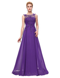 Wholesale Chiffon Embroidery Prom Dress - Grace Karin Evening Dresses Long 2016 Purple Red Black Formal long sleeve Evening Gowns Party Prom Dresses Mother of the Bride Dresses 7555