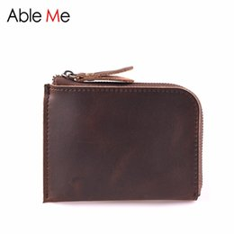 Wholesale Handmade Leather Card Wallet - Multifunction Mini Leather Men Wallet Slim Short Section card holder Handmade Custom Name short Purse For Men and women Personality Gift
