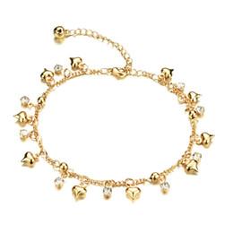 Bracelets de cheville sexy en Ligne-Bracelet de cheville breloque coeur en or jaune 18 k plaqué or zircon cubique Bracelet de chaîne en cristal de pied sandale plage femme bijoux, réglable