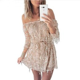sheer clubwear dresses Promo Codes - New Sexy Sequin Short Prom Dresses Slash Neck Long Sleeve Cocktail Evening Gowns Summer Beach Wedding Dress Sheer Mesh Clubwear LJF0602