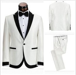 Wholesale White Tuxedo Evening Wedding Groom - 2016 Western Mens Wedding Tuxedos For Grooms Wear Slim Fit Best Man Groomsmen Prom Evening Party White Mens Suits Dinner Jacket Black Lapel