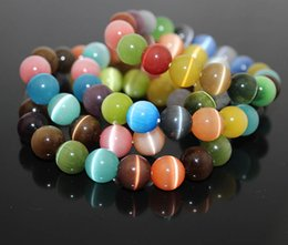 Wholesale 8mm Charms - Multi Color Cat Eye Charm Bracelet 8MM 10MM Semi Precious Stone Round Beads Bracelet For Women Bridal Jewelry Love Gift B697S