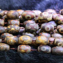 Wholesale gemstone tibetan jewelry - Natural Brown 3 Eyes Beads, Tibetan Dzi Agate Beads, Barrels Beads Gemstone Quartz Druzy Agate Necklace Pendant Jewelry Make Connector
