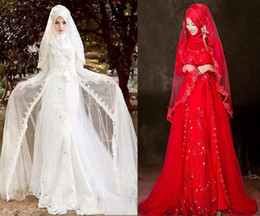 Meilleures robes de mariée taille plus en Ligne-Best-seller robes hijab camo manches longues musulmanes robes de mariée appliques perlées A-ligne arabe islamic plus robes de mariée de taille