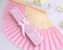 Wholesale Chinese Fans Color - Wholesale Chinese Silk Mix Color Personalized Fans With Printing Engrave Bamboo Hand Silk Wedding Fans+Gift Box 50Pcs