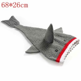 Wholesale Knit Crochet Baby Patterns - Crochet Newborn Hot Shark Sleeping Bags Baby Photography Knitted Baby Clothes Patterns Outfits For Free Shipping
