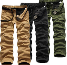 Wholesale Wool Sport Pants - Winter Double Layer Men's Cargo Pants Warm Outdoor Sports Pants Men Baggy Thicken Wool Trousers Army green Overall Plus size