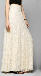 Wholesale Maxi Layered Skirt - Womens Lace Layered Hitched Maxi Skirt A Line Boho Long Asymmetric Summer