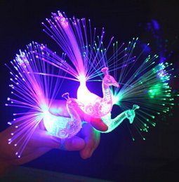 Wholesale Peacock Birthday Party - Creative Peacock Finger Lights Kids Like 7 Luminous Colour Rings Children Day Birthday Party Gifts Toys Free Shipping