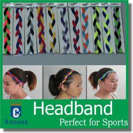 Wholesale Hair Band Silicone - NEW! Braided Hair Bands Head Style Sweaty Headband Non Slip Sports softball headbands