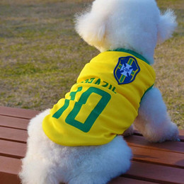 Wholesale Pets Jersey - 20pcs lot Pet Dog football World Cup national team jerseys 8 countries Football dog clothing net vest