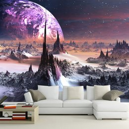 Paredes de papel tapiz morado online-Purple galaxy Wallpaper 3D Photo Wallpaper Encantador estrellas Mural de pared Niños Dormitorio Sala de estar Decoración TV Telón de fondo Wall Designer 3D Wallpaper