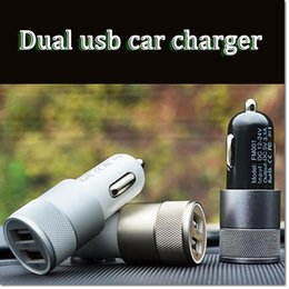 Wholesale Iphone5 Car Adapter - 2016 Newest Metal Alloy Shell Universal 2.1A+1A Dual USB 2 Port Car Charger Auto Charging adapter For Apple iphone5 6 Samsung Blackberry