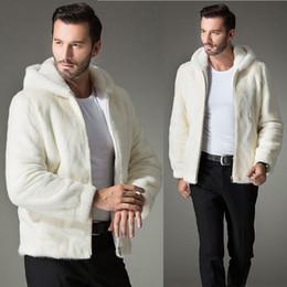 Wholesale Rabbit Men Coat - Wholesale- 2016 Winter Synthetic Fur Coats Men Casual Furry Hooded Coat Plue Size 4XL Faux Rabbit Fur Jackets Mink Fur Coat