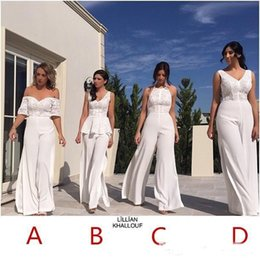 Wholesale Short Trousers Lace - Elegant White Conjoined Bridesmaid Dresses Long Wedding Guest Dress Lace Corset And Chiffon Trousers Ladies Formal Party Evening Wear