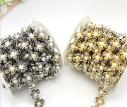 Wholesale Collar Shoes - 20yard Flower Round Pearl Beads UV Plated Chain Trim For Sewing Apperal Bag Shoes Cap Collar Decoration