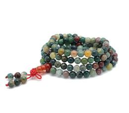 Wholesale Agate Bead Bracelets - Wholesale-Natural 6mm Stone Buddhist India Agate 108 Prayer Beads Mala Bracelet Necklace