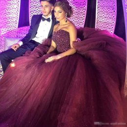 Wholesale Sexy Gorgeous Evening Dress Cheap - Gorgeous Grape Tulle Quinceanera Prom Dresses 2016 Sweetheart Sequined Beaded Bodice Court Train Evening Special Occasion Gowns Cheap 2k16