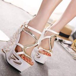 Wholesale Roman Sandals Style Shoes - 2016 Summer New Style Ladies Rhinestone Cutout High Heel Sandals Sexy Platform Pumps Roman Sandals Women Dress Shoes