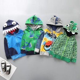 Wholesale Crocodile Children - 5 styles INS Europe and America new styles Children Hooded zipper shirt cartoon crocodile high quality cotton Hoodies free shipping