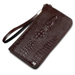 Wholesale Pattern For Coin Purse - Wholesale- 2016 alligator top cow genuine leather wallets for men Crocodile pattern purse Exquisite fashion design clutch wallet