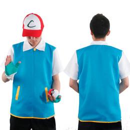 pokemon azul Desconto 2016 Hot Halloween Cosplay Poke Vão de alta qualidade Azul Cosplay Costumes Jacket Luvas Hat Ash Ketchum Costume para Masculino Feminino One Set CS004